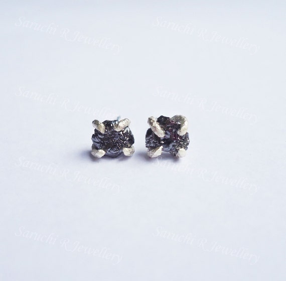 Rough Black Diamond Earrings Genuine Diamond Diamond