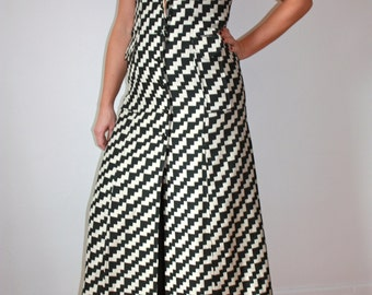 Jackson vintage long dress; size medium; black and white/cream print