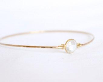 Crystal Quartz Bangle - Gold Bangle - 14k Gold Filled Gold Bracelet - Quartz Bracelet - Bangle Set - Gold Bridesmaids Thin Stacking Bracelet