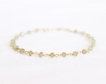 Green Peridot Bracelet - Gemstone Beaded Bracelet - Stacking Bracelet - Layering Bracelet - Simple Bracelet - August Birthstone - Thin