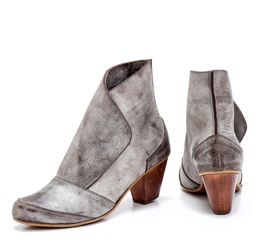 Beige Grey Leather Booties / Women Leather Shoes / Casual Leather Boots / Office Shoes / Designers Leather Shoes / High Heels Shoes - Betta