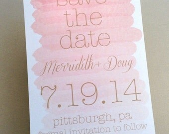 Watercolor Save the Date Announcement featuring soft pink ombre design & your wedding date