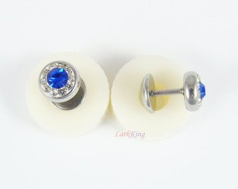 Stud earrings, blue studs, blue earrings, funky blue earrings, blue stud earrings, fashion stud earrings, wedding favors, LarkKing ER331
