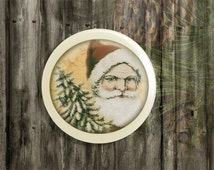 "ON SALE Handmade Santa Knobs Drawer Pulls, Vintage St Nick Cabinet Pull Handles, Old Time, Old Fashion Christmas 1.5"" Dresser Knobs, Made to"