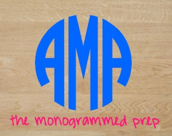 Monogram Car Decal, Car Decal, Circle Monogram Sticker, Vinyl Monogrammed Car Decals For Window, Circle Monogram Decal, Car Sticker