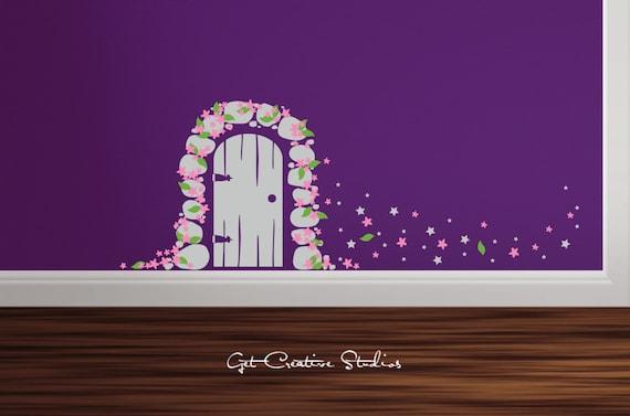 Fairy door decal tooth fairy decal princess wall decal fairy for Fairy door wall art