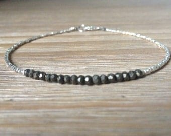 Pyrite and Fine Silver Bracelet, Beaded bracelet, Gemstone bracelet