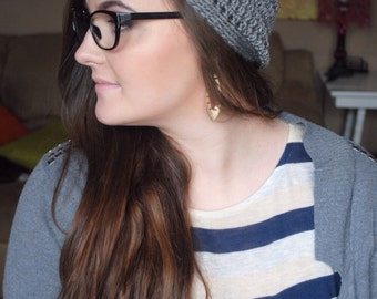 Boho Beanie, Boho Hat, Bohemian Beanie, Bohemian Hat, Gray Slouchy Beanie, Slouchy Hat, Slouch Beanie, Slouch Hat, Slouchy Beanie Hat