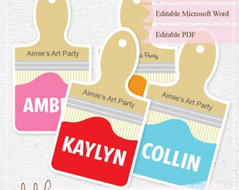Editable Art Party Name Tags / Food Labels / Tags / Instant Download / Paint Brush  INSTANT DOWNLOAD