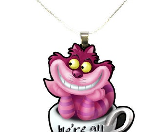 Alice in Wonderland Cheshire Cat Teacup Necklace