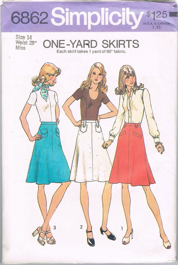 1970s flared simple skirt pattern simplicity 6862 size 14