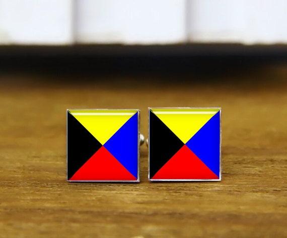 custom marine signal flag,  a-z cufflink, marine flag cufflinks, maritime signal Flags cufflinks, Nautical Flags, square cufflink & tie clip