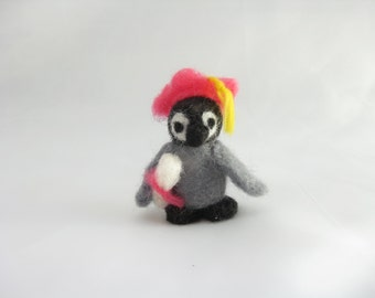 Graduation Penguin with pink hat and diploma, needle felted wool animal miniature, custom colors