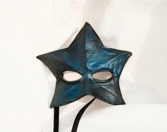 blue star leather mask masquerade carnival mardi gras halloween costume larp renaissance mermaid turquoise starfish fantasy