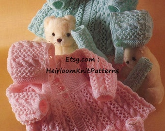 Baby Matinee Coat Bonnet Socks Vintage Knitting Pattern DK/ 8ply Cable and Lace Baby Set Pattern, Instant download PDF Pattern - 561
