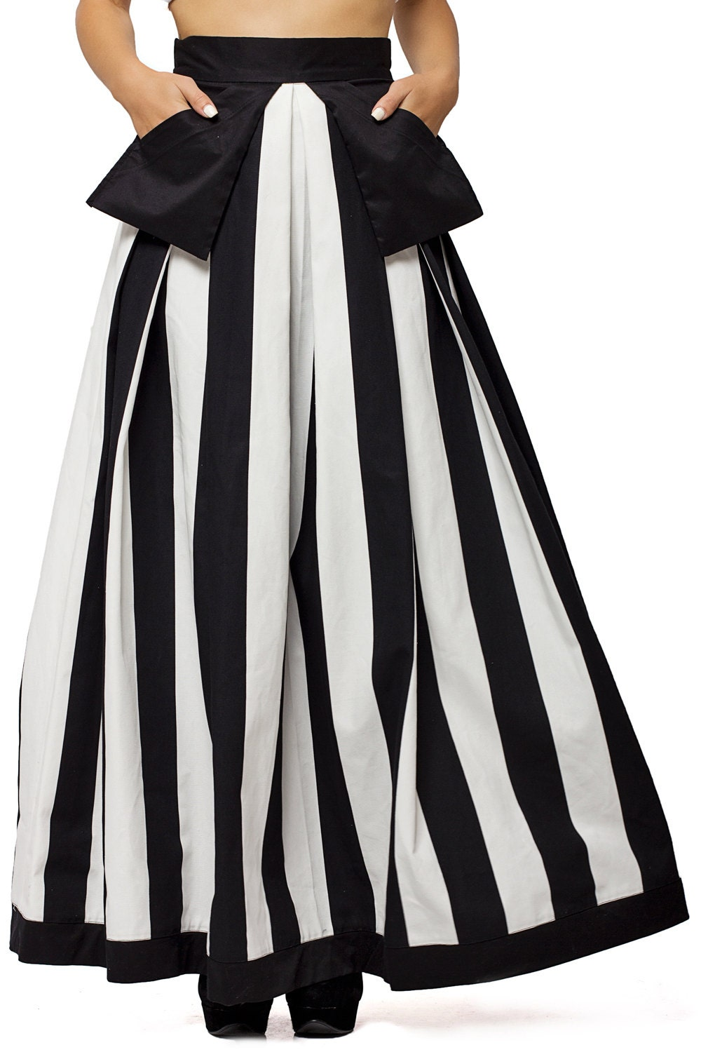 high waist black and white skirt maxi skirt pocket