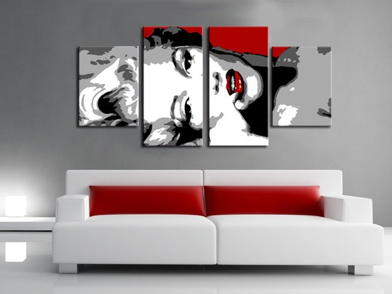 Set 4 quadri moderno marilyn monroe stile pop art dipinto a for Quadri da arredamento