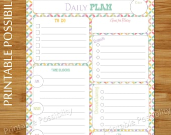 Printable Daily Planner - Multi color pattern - Daily To Do List Planner Page - To Do List Daily Plan - 8.5 x 11 - Errands Cleaning Lists