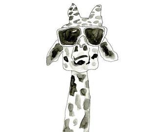 Shady Giraffe Watercolor - Archival print