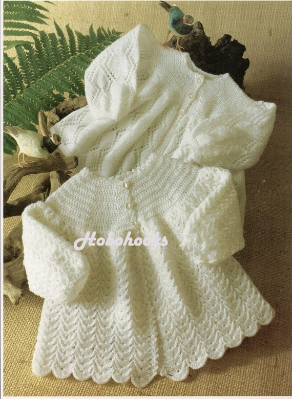 Baby Knitting Pattern Baby Lacy Matinee Coats Baby by Hobohooks
