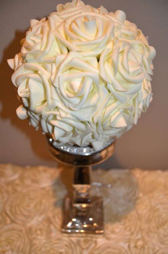 Ivory real touch foam rose flower ball wedding by kimeekouture