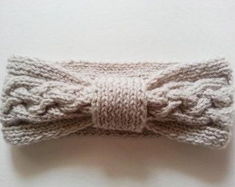 Cable Knit Headband - Earwarmer Headband - Knitted Headband - Tan Winter Headband - Tan Cable Earwarmer - Trendy Headband - Teens Headband