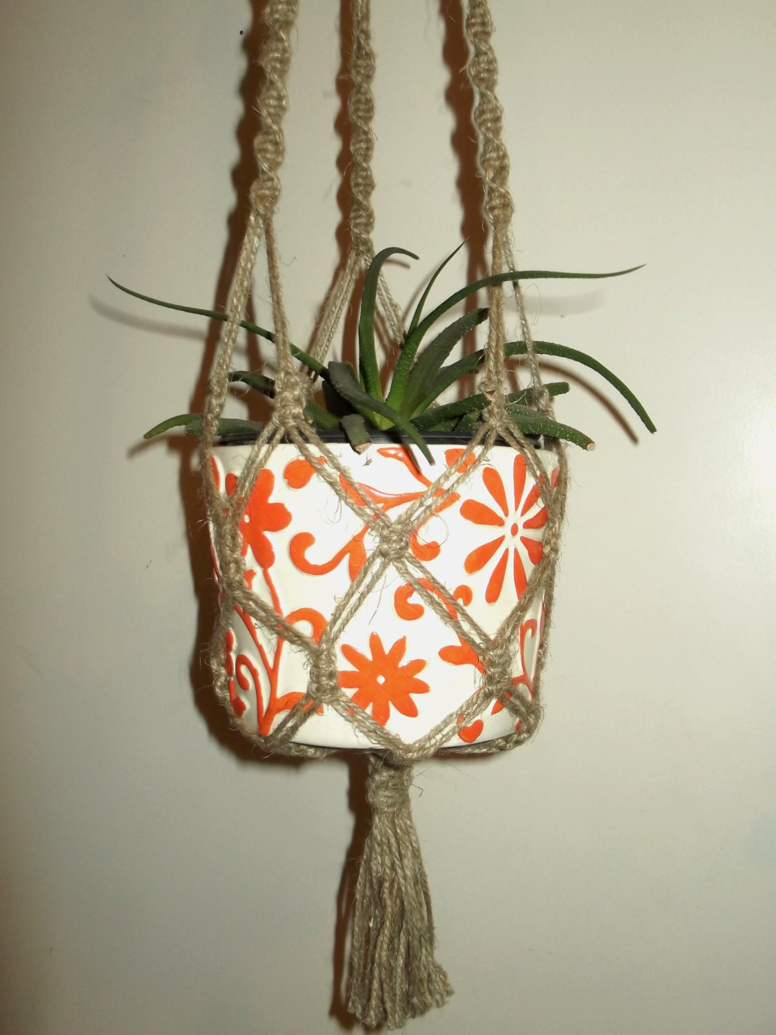 Plantes nature amicale en macram hangar de suspension pot - Suspension pot de fleur macrame ...