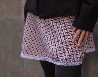 Purple Miniskirt with white lace, purple and white miniskirt, white lace miniskirt, original skirt