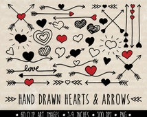 Hearts and Arrows Clip Art Set. Mother's Day Clipart. Hand Drawn Doodle Arrows and Hearts in Red and Black.
