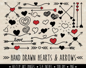 Hearts and Arrows Clip Art Set. Valentine's Day Clipart. Hand Drawn Doodle Arrows and Hearts in Red, Black. Mother's Day Clipart (0007)