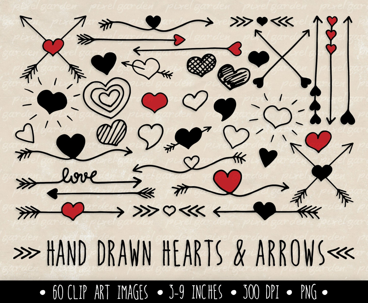 hearts and arrows clip art set valentine 39 s day clipart. Black Bedroom Furniture Sets. Home Design Ideas