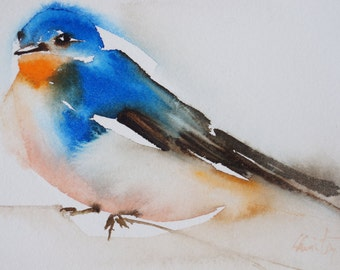 Original watercolor bird swallow 1