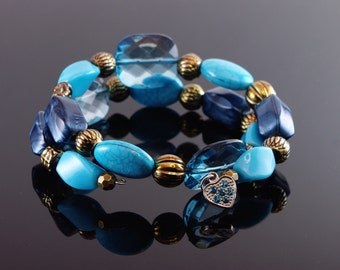 Blue Beaded Memory Wire Bracelet