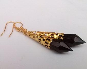 Black Teardrop Earrings , Black Earrings , Silver Earrings , Dangling Earrings , Handmade Jewelry , Victorian Earrings , Gothic Gift