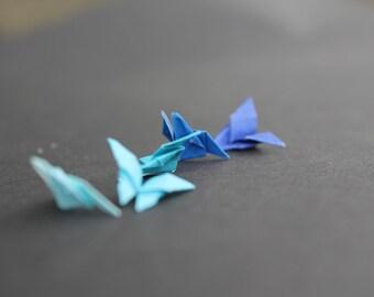 Blue shades micro mini butterfly x5, handmade, ocean colour butterflies