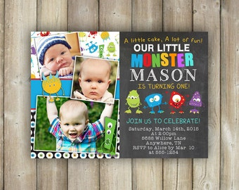 Little Monster First Birthday Invitation, Boys 1st Bday Invites, Multiple Photos, Digital File, Print Yourself