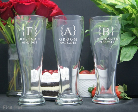 Customized Wedding Beer Glasses : Personalized Beer Glasses / Groomsmen Gifts / Wedding Party Glasses ...