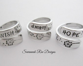 Dream Hope Wish. Handstamped wrap ring. Handstamped jewelry. Aluminum wrap ring. Dream ring. Wish ring. Hope ring.