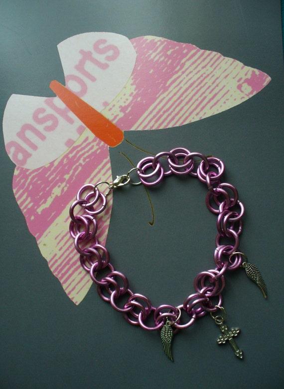 Pink Chain Bracelet, Silver Cross Bracelet, Wing Charm Bracelet, Pink Charm Bracelet, Affordable Bracelet,  Link Chain Bracelet. Trendy
