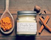 Pumpkin Spice - Mason Jar Soy Candle - phthalate free - pumpkin, cinnamon, cardamom, nutmeg