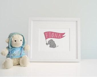 Personalised New Baby Gift, Elephant Nursery Artwork, Hand Lettered Name, Newborn Christening Present, Kids Room Wall Art, Animal Poster