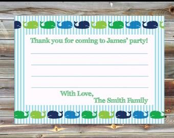Birthday Boy Thank You Card - Whale Birthday Thank You Card - Matching Thank You Card - Personalized Thank You Card