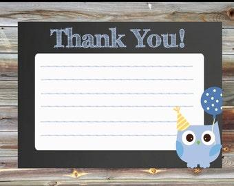 Owl Theme Thank You Card - Owl Boy Birthday Matching Thank You Card - Chalkboard Owl Thank You Birthday Card