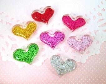 Glitter Valentine Heart Pendant Charms, Multicolor, #688