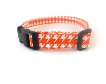 Orange houndstooth dog collar, orange and white dog collar, pet collar, orange cat collar, houndstooth collar