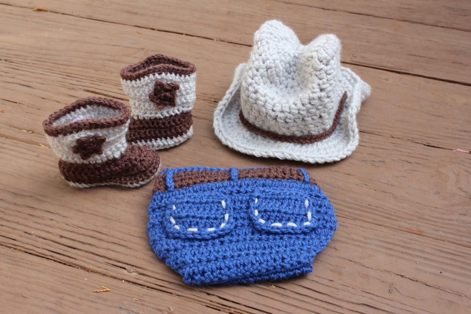Newborn Baby Boy Crochet Cowboy Outfit with by ...