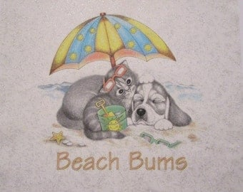 Dog and Cat BEACH BUMS~ Summertime Friends, Umbrella, Sand Pail, Sunglasses~ Glimmer Fabric Quilt Block Panel