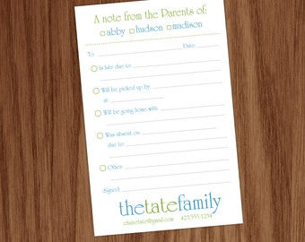 Parent Excuse Note Memo Pad for School, Back to School Mommy Note Pad - Personalized Gift for Moms