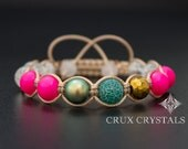 Pink Neon Shamballa Bracelet, Swarovski Elements, Natural Stone, Beaded Bracelet, Swarovski Crystal Pearls, Agate, Quartz Crystal, Hematite