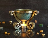 raku pottery Essential Oil Diffuser, oil burner, Aromatherapy burner, ceramic tea light burner, witches cauldron